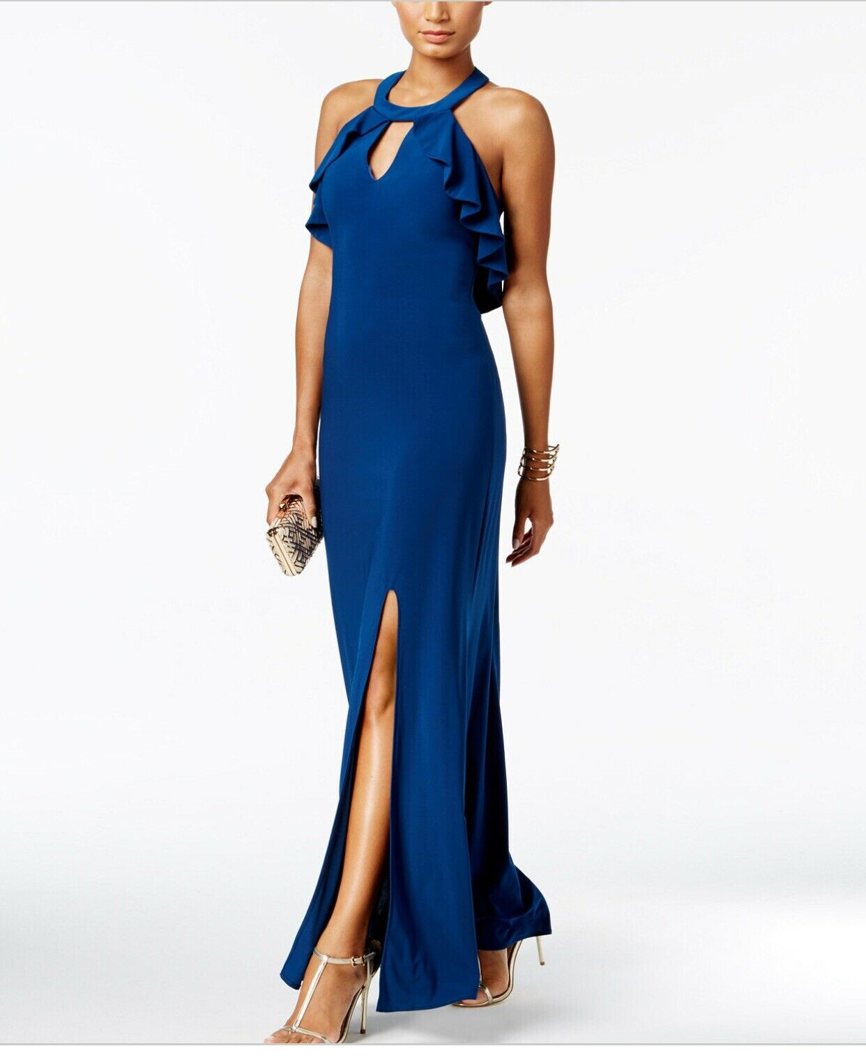 Nightway Ruffled Halter Gown, Size 10