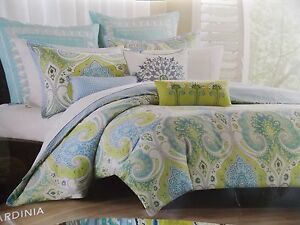 New Echo Design Sardinia Blue Lime Green 4 Piece Twin Comforter Set