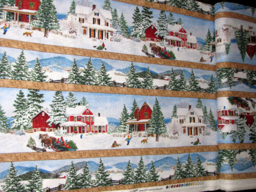 Christmas House Barn Stripe Cotton Fabric Wilmington Bringing Home By The Yard