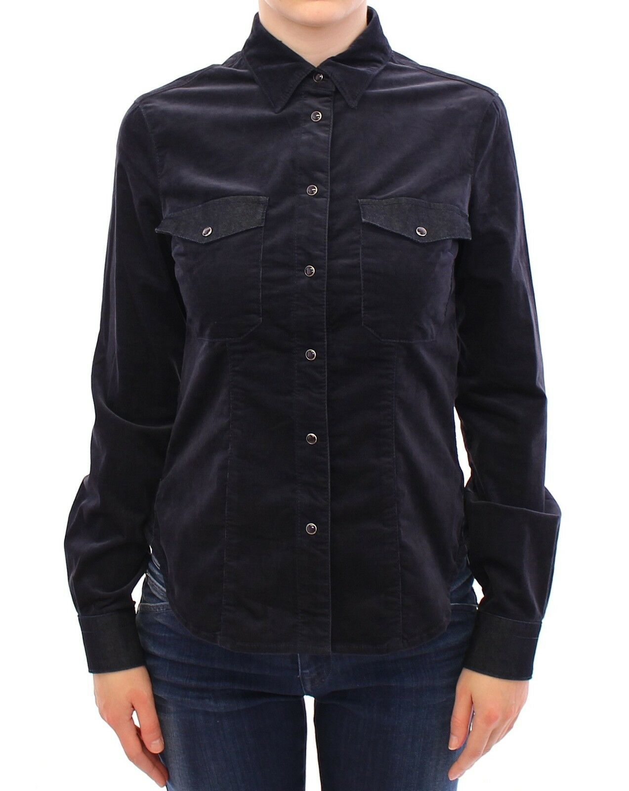 NEW  ARMANI JEANS AJ Shirt Blau Stretch Button Down Blouse Top IT40   US S