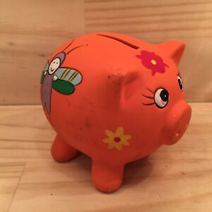 PIGGY-BANK-Orange-Beautiful-Pig-Shaped-Money-Box-Decorative-Ornament