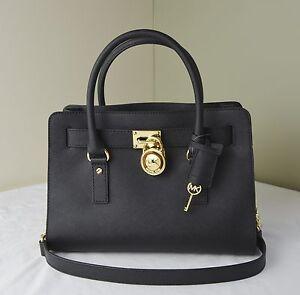 Michael Kors Hamilton EW Satchel Black Saffiano Leather with Gold ...