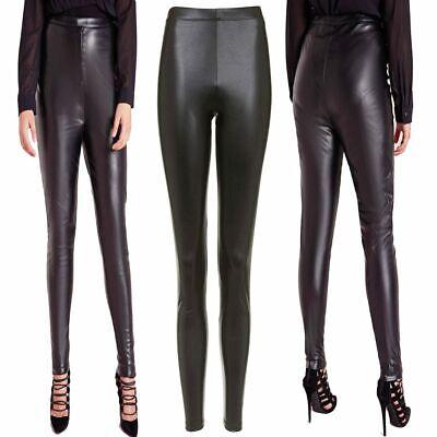 Womens Wet Look Leggings Celeb Inspired Pvc Faux Leather Shiny Skinny Pants
