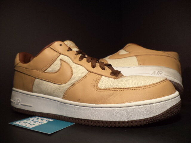 2002 Nike Air Force 1 Low NATURAL UNDERBRUSH ACORN BROWN blanc 624040-121 Sz 13