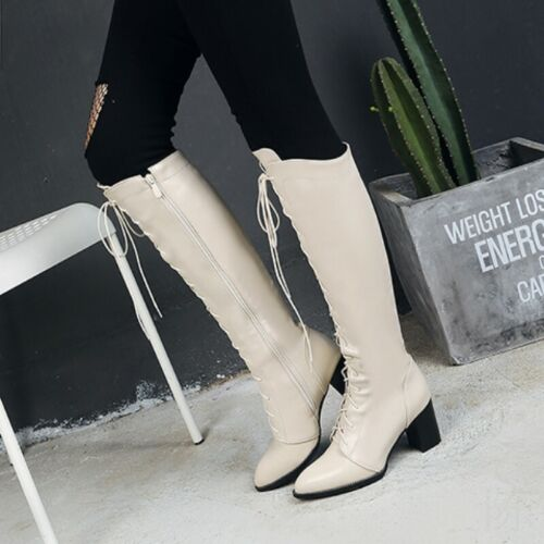 Women Mid Calf Knee High Lace Up Boots Ladies Zip Riding Military Shoes 34-48 DD