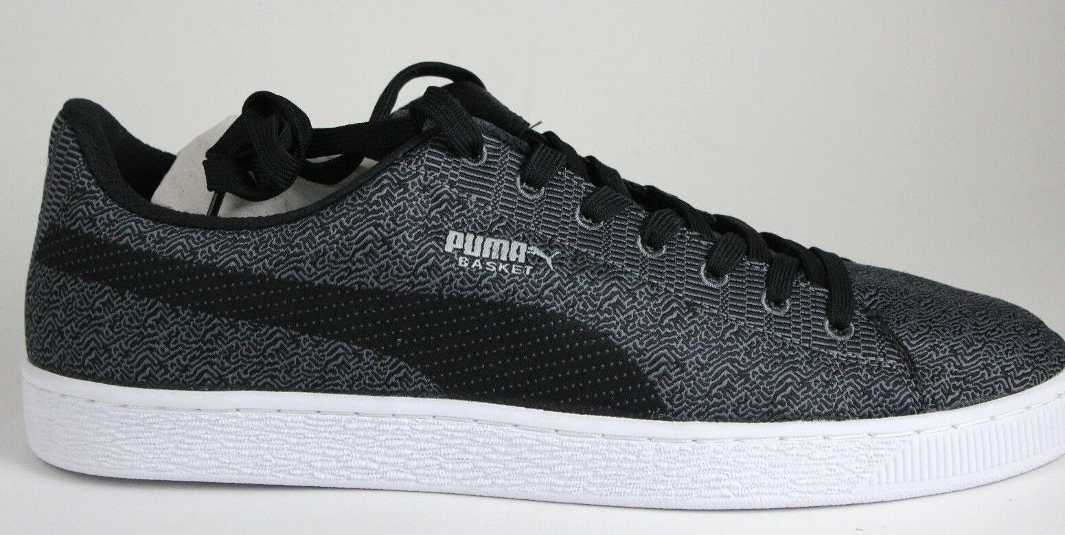 Hombre Puma Basket Clásicos Tejido 36083201 Acero Negro gris L Nuevo en Caja