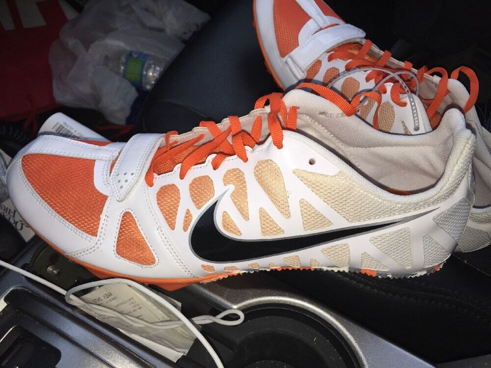 NIKE Zoom Rival S 6 Track Field Running Sprint Spikes Shoes White Orange US 13