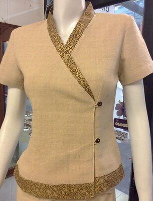 122C Women's top spa uniform Thai wear 100% Cotton