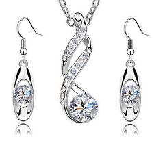 Kristall Kette + Anhänger Ohrringe Schmuckset Swarovski® Kristall Silber Schmuck
