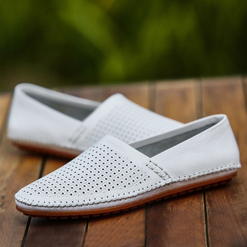 Men's Casual Leather shoes Breathable Loafers Lazy Peas Comfy Leisure Multi-size