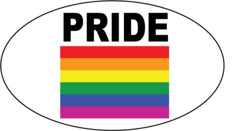 GAY PRIDE FLAG WITH WORDING OVAL VINYL STICKER Car Bumper Sticker 20 cm x 12 cm