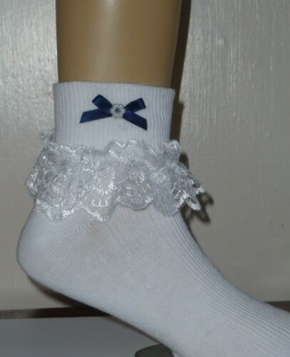 "GIRLS WHITE FRILLY LACE SOCKS SIZE LOTS OF SIZES NAVY BLUE BOW /""/""/""/""/""/""/""/""/""/""/""/""/""/""/""/"""