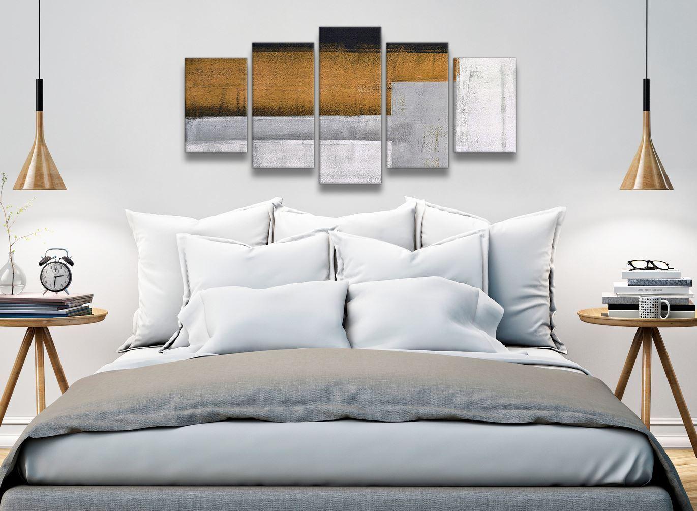 5 panel orange gris gris orange Peinture Abstrait Chambre à Coucher ...