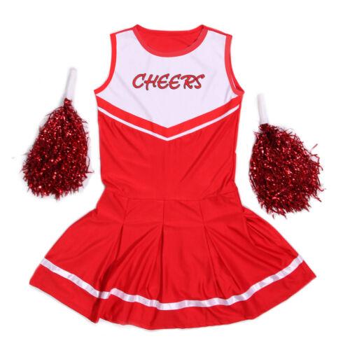 XS-2XL Cheerleader Uniform Fußball Volleyball Kostüm Karneval Halloween