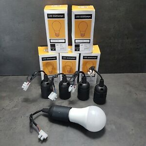 E27 Lampenfassung mit LED Lampe 15W Baufassung Lampenhalter Baustellenfassung