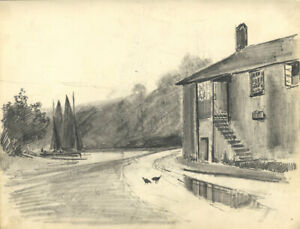 C.A. Hannaford - Early 20th Century Graphite Drawing, Riverside