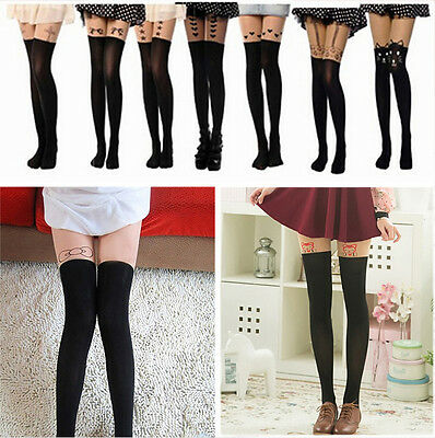 Black Cute Cat Tattoo Socks Sheer Pantyhose Mock Tights Stockings
