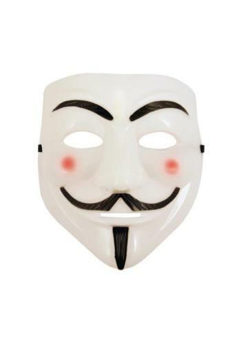Anonymous Vendetta Guy Hacker Face Mask Adults Halloween Fancy Party Accessory