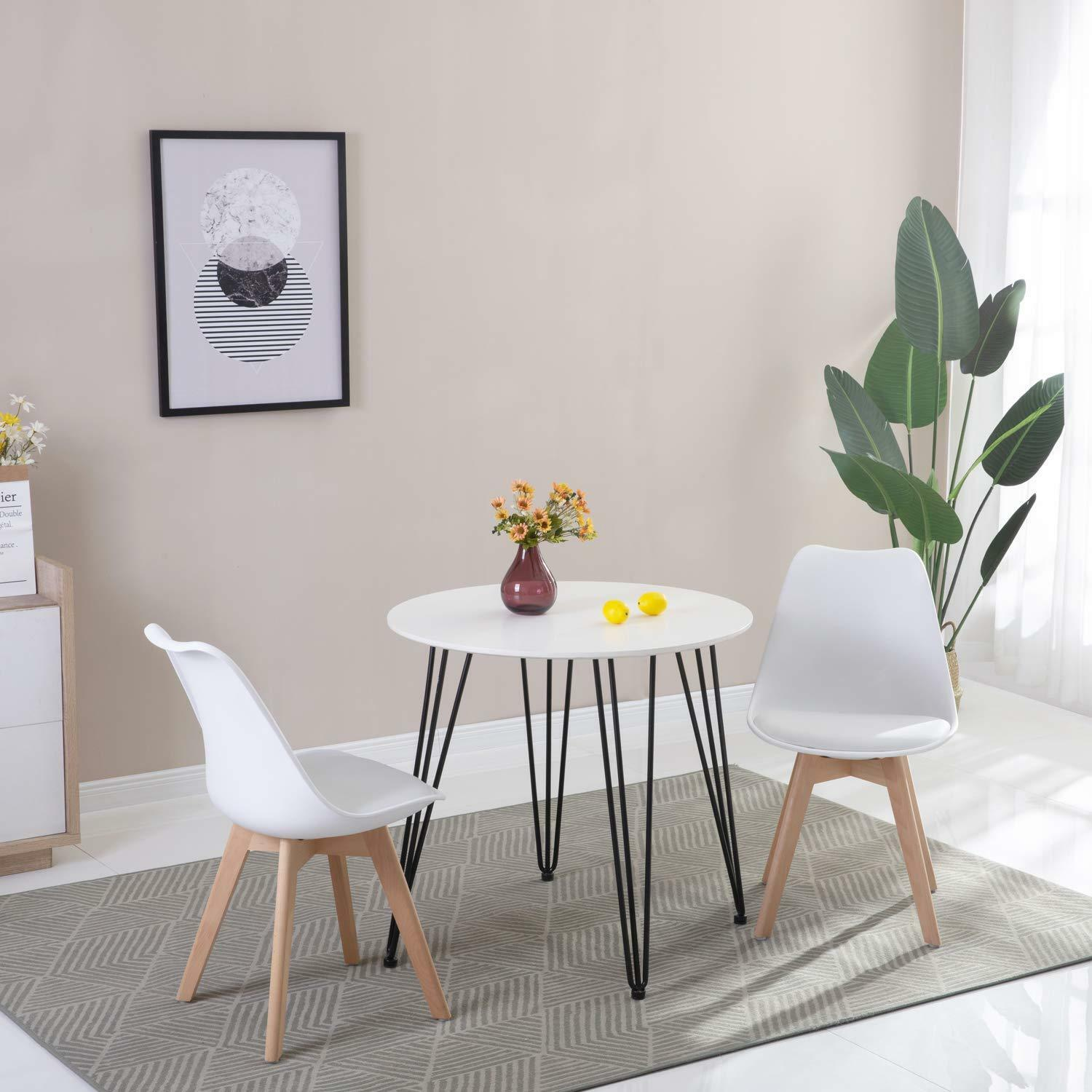 Solid Wood Kitchen Table And Chairs: Round Dining Table And 2 Dining Chairs Retro Solid Wood