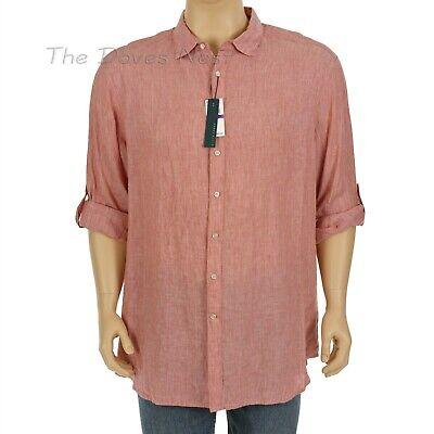 Men/'s Perry Ellis 100/% Linen Shirt Roll Sleeve Long Button Front 2X 3X 4X  2XLT