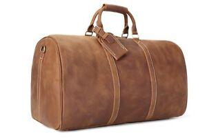 Handmade Vintage Full Grain Leather Large Duffle Travel Bag - VB   eBay a24d5a036d