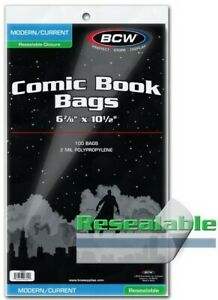 BCW-Modern-Age-Resealable-Comic-Book-Bags-6-7-8-034-x-10-1-2-034-Qty-1-000