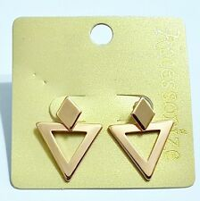 ACCESSORIZE~ GOLD TONE, 2 PIECE ROSE GOLD, TRIANGLE EARRINGS. 2 WAY WEAR