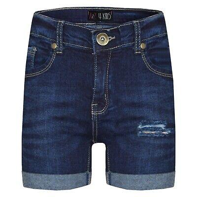 Bambini Ragazzi Ragazze Pantaloncini Denim Strappato Blu Chino Bermuda Pantaloni Jeans Corto Mezza- L'Ultima Moda