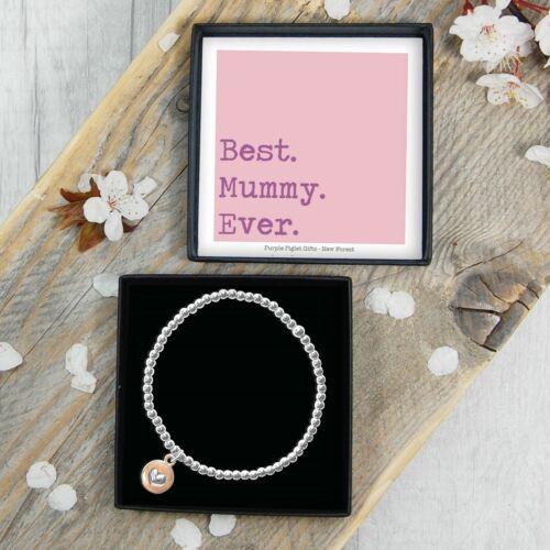 Momia Elástica Con cuentas Pulsera De Plata día de las madres Presente Idea de Regalo Joyas