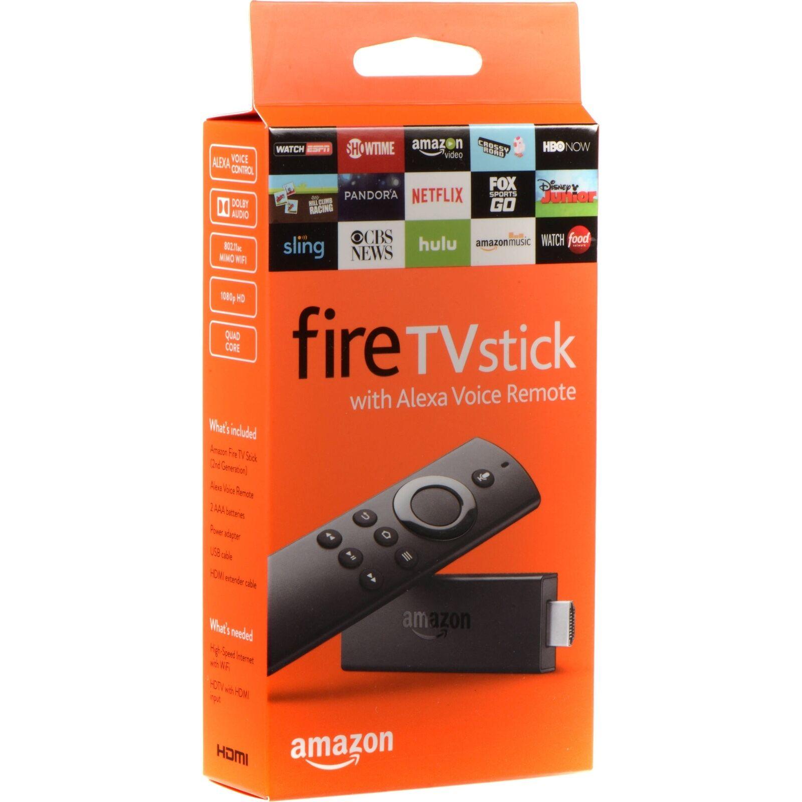 Amazon Fire TV Stick 2017 2nd Generation w/ Alexa Voice Remote ...