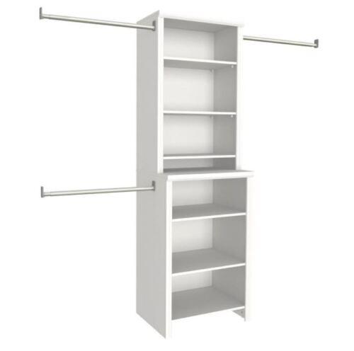 White Clothes Storage Closet Organizer Kit Wood Closet Systems,8-Shelves 25 in
