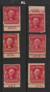 1903-Sc-319-MLH-plate-number-singles-Hebert-CV-22-50-each