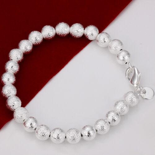 box DB44 Livraison gratuite Sterling Argent Massif 8 MM givré boule bracelet jonc