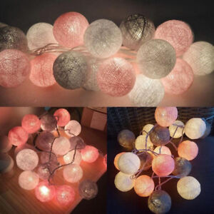 20-Cotton-Ball-String-Fairy-Night-Lights-USB-LED-Bulb-Bedroom-Party-Home-Decor