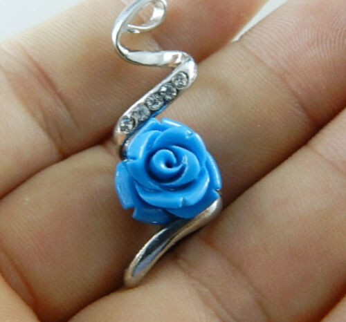 Multi-color 12mm Sea Coral Carved Flower Pendant Necklace AAA Grade