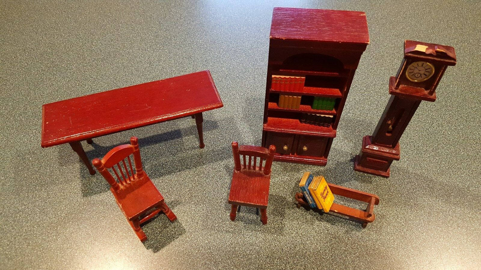 Lot of 13 Wooden Doll House Furniture Library Study