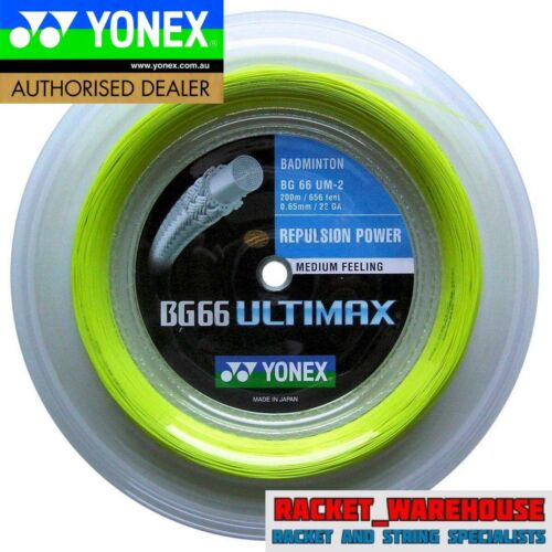 YONEX BG66 ULTIMAX 200M COIL BADMINTON STRING YELLOW COLOUR