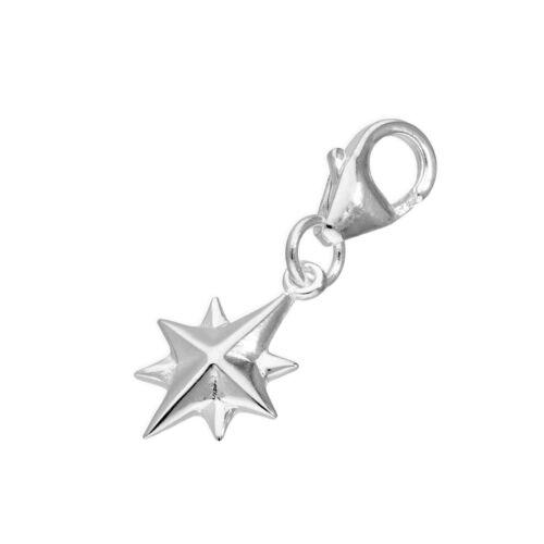 Real 925 plata encanto de la Estrella del Norte Clip Natividad Navidad