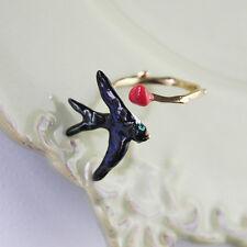 Bague Petit Email Oiseau Noir Rouge Retro Ancien Vintage Reglable Cadeau L3