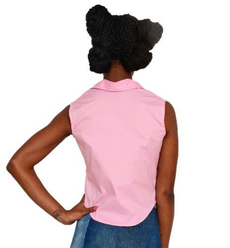 Sz Pink Style Front Viv Blouse To Hey L Classic Vintage Sleeveless Tie Sm ZqawXX