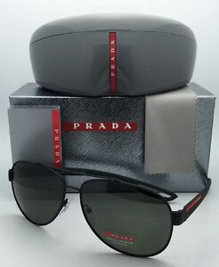 37a061e997 Polarized PRADA Sport Sunglasses SPS 55Q DG0-5X1 Black Rubber Green ...