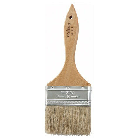 3-Inch Wide Flat Boar Bristle Pastry Brush with 5.25-Inch Wooden H Winco WBR-30