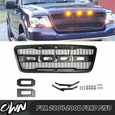 Front Grill for FORD F150 2004-2008 Raptor Style Black Grill With Amber LED lights and F/&R Letters