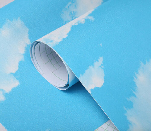 3D Blue sky and white cloud ceiling Wallpaper Self-adhesive  Home Decor