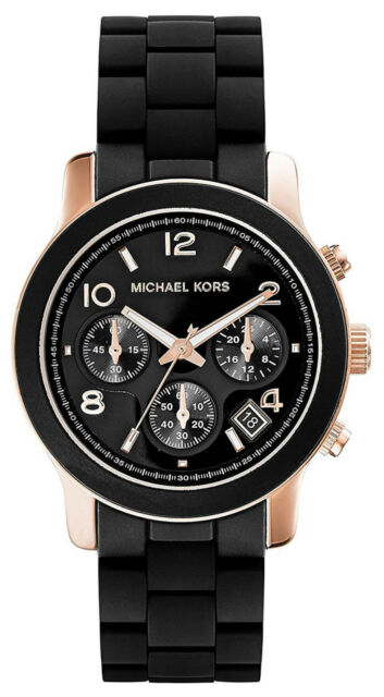 006a7d2b7cd6 Michael Kors MK6128 Runway Black Dial Silicone Stainless Steel Women s Watch