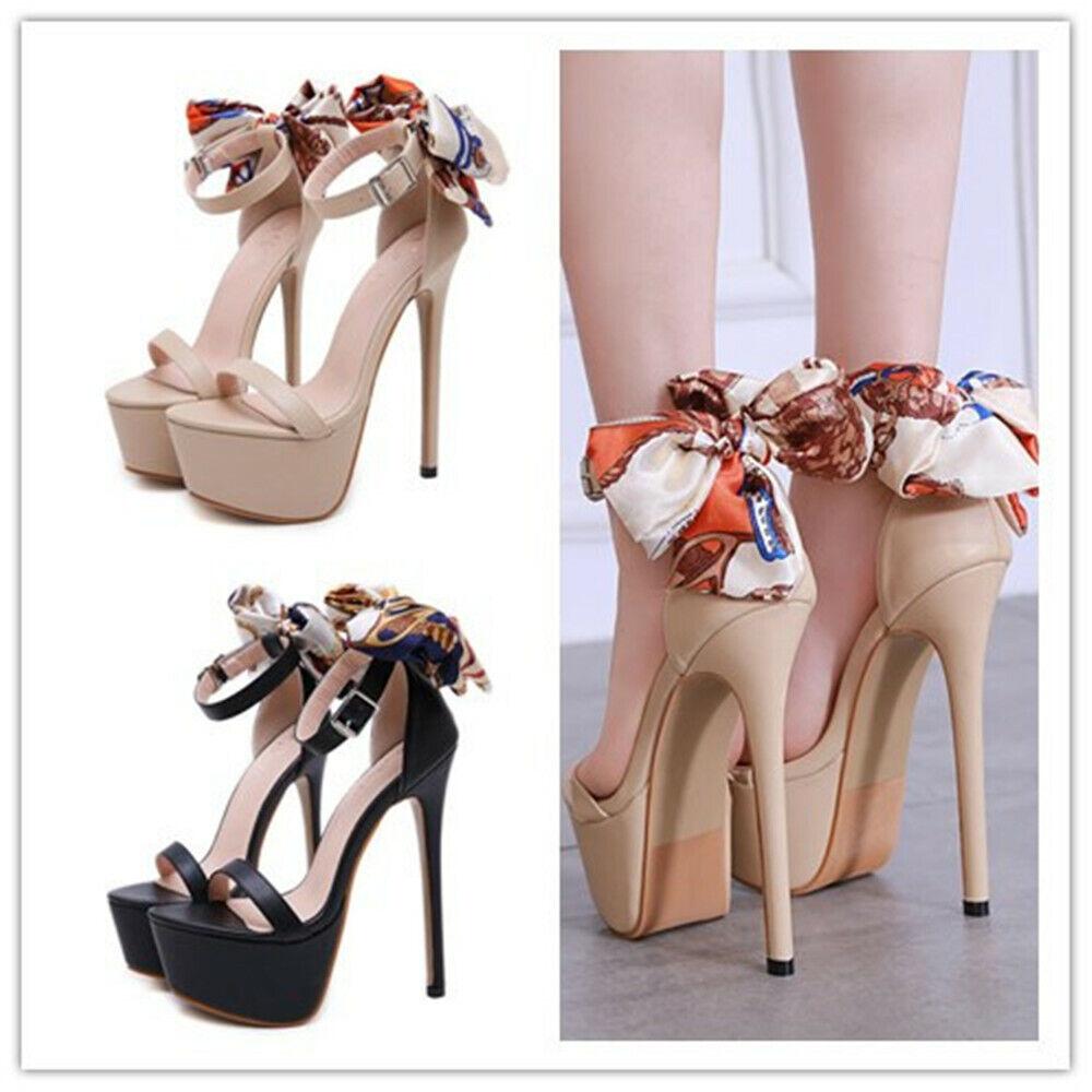 Femme Noeud Plateforme Super Talon Haut Stiletto Bride Cheville Bout Ouvert chaussures US