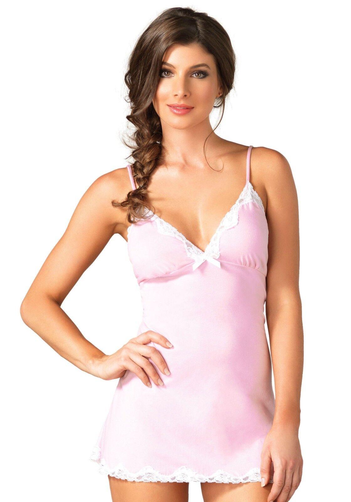 Leg Avenue Brushed Pink Jersey Nightie Nightdress Slip /& White Trim Size 10-12