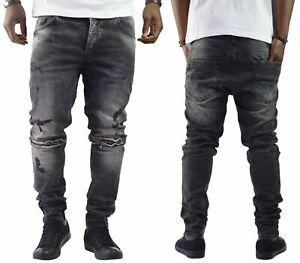 2018 Herren BikerJeans Destroyed Schwarz Slim-Fit Clubwear Denim Jeans NEU