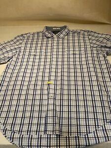 Nautica-Sz-2XL-Blue-Plaid-S-S-Button-Up-100-Cotton-Casual-Shirt