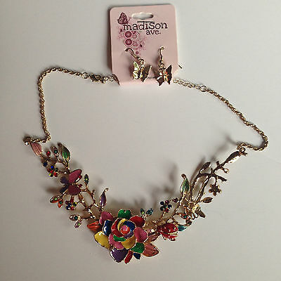 Sweet-Tempered Madison Ave Fashion Jewelry Rhinestones Enameled Rose & Butterflies Gold Necklace & Earrings Commodities Are Available Without Restriction